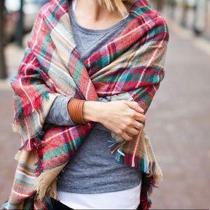 Plaid holiday blanket scarf